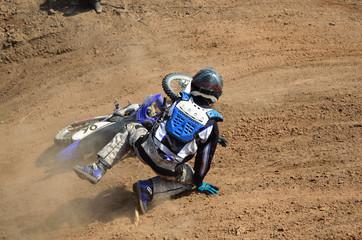 Motorsports mx rider turning falls
