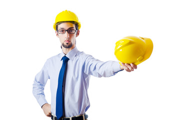 Construction safety concept with builder