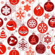 Christmas seamless background with red hanging balls
