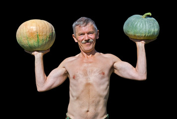 Man with pumpkins 14