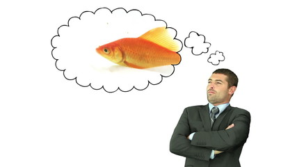 Businessman thinking about a fish