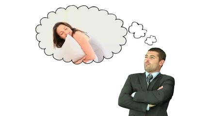 Businessman thinking about women