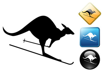 Kangaroo skier pictogram and signs