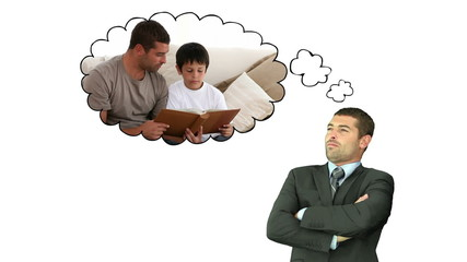 Businessman remembering the time spent with his son