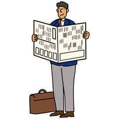 新聞を読むビジネスマン イラスト