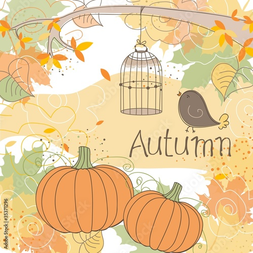 Keuken foto achterwand Vogels in kooien Autumn background, vector