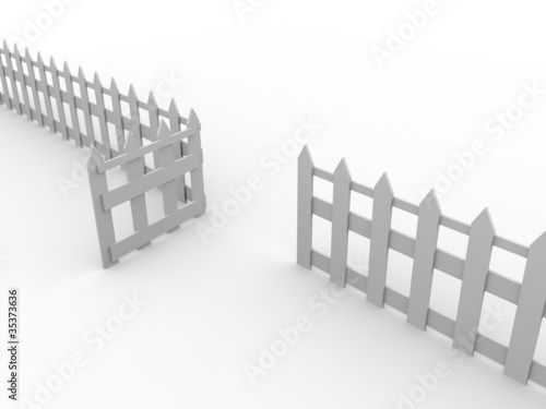 wooden fence door open
