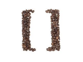 simbolo delle parentesi quadre fatte con i chicchi di caffe