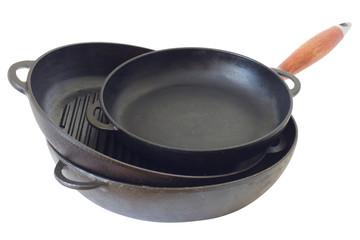 A kit of cast iron pans