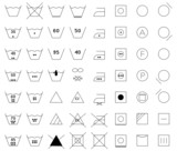 Set of washing symbols / black and white /
