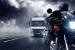 Fototapeten,autobahn,verkehr,motorrad,laster