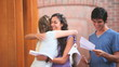 Happy students receiving a good news