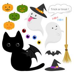 ハロウィン(黒猫とオバケ)