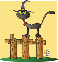 Black Cat Witch Cartoon Character On A Fence