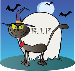 Halloween Witch Cat By A Tombstone On Blue