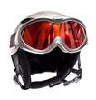 Ski helmet and ski goggles isolated on white background