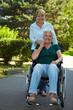 Frau schiebt Seniorin im Park