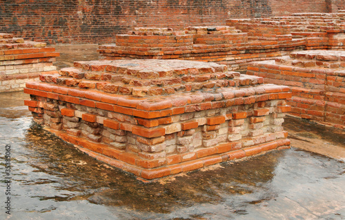 Close view of a square miniature stupa ruins