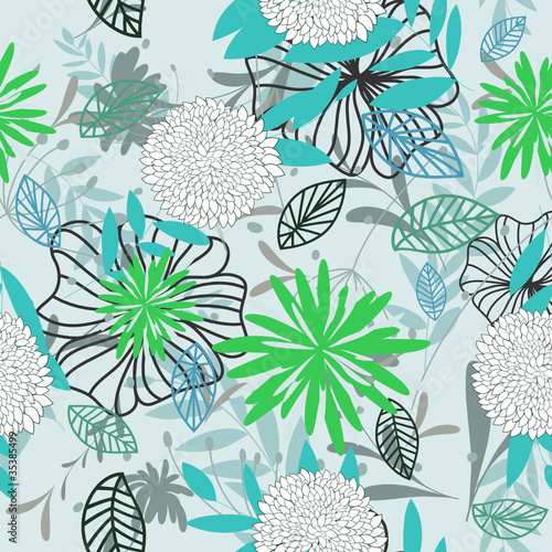 Tuinposter Abstract bloemen seamless floral pattern