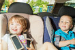two little kids sitting on back seat in child safety seats