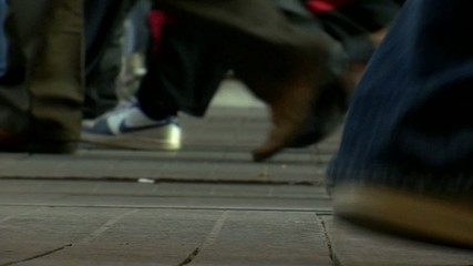 crowd feet-walking in street