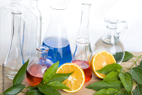 Laboratory flask and orange