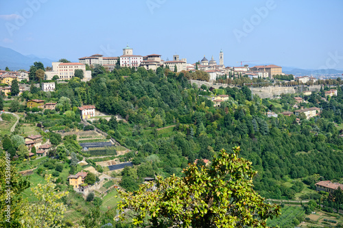 Citta Alta, Bergamo, Lombardy, Italy, a town on top of a hill.