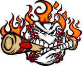 Baseball Flaming Face Biting Bat Vector Image