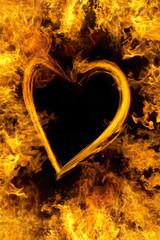 炎のフレームとハート
