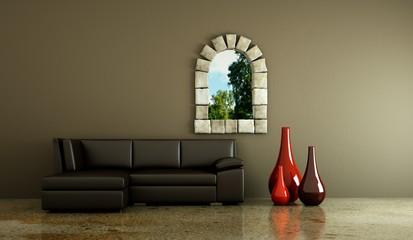 Wohndesign - braunes Ledersofa vor Fenster