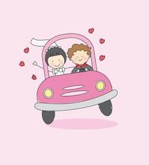 Novios conduciendo hacia la luna de miel