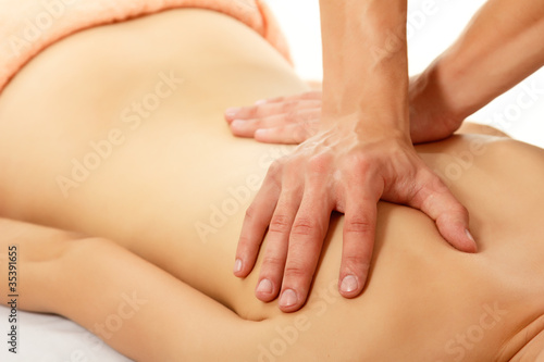 massage woman young beautiful isolated on white