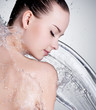 Portrait of beautiful woman with water