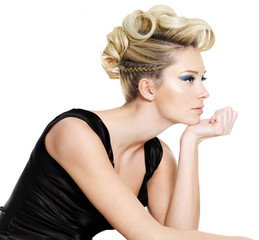 glamour  woman with curly,  pigtail  hairstyle
