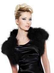 Beautiful sensuality glamour woman in black dress