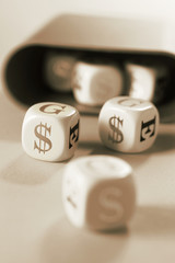 Dice with Dollar Symbols
