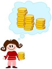 Mädchen denkt an Geld