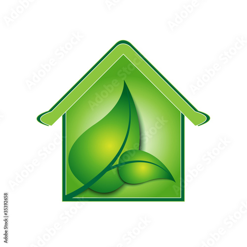 vector green house sign / logo