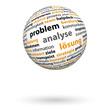 3D Kugel, Problem, Analyse, Lösung, Wortwolke, schwebend