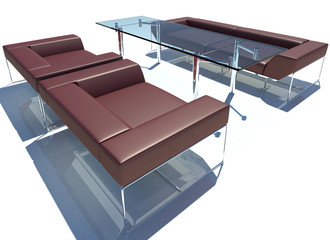 Red Sofa Group 3D Rendering