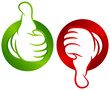 Thumb Up Green & Thumb Down Red