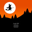 Halloween Background Flying Witch & Full Moon
