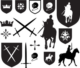 Old style elizabethan, tudor and medieval style icons and emblem