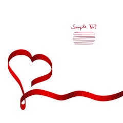 Card Red Ribbon Heart