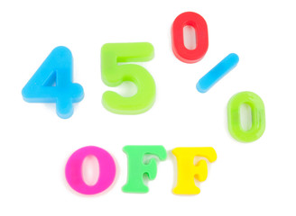 45% off written in fridge magnets