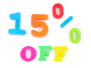 15% off written in fridge magnets