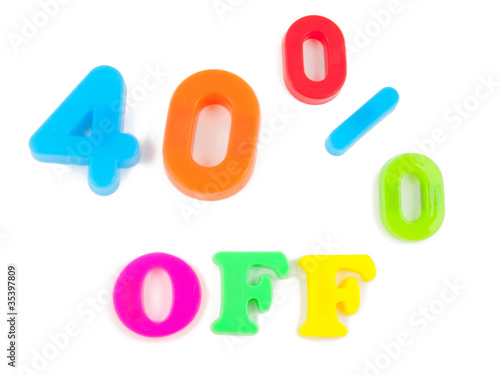 40% off written in fridge magnets