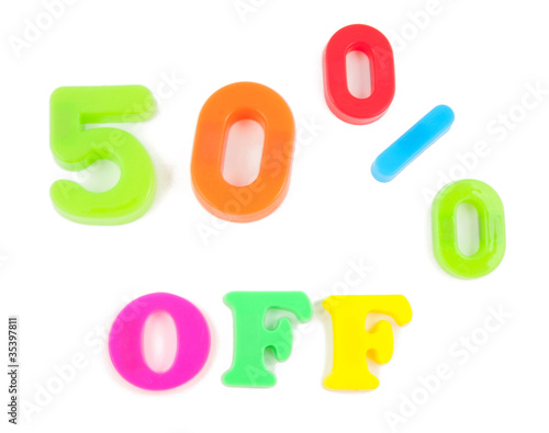 50% off written in fridge magnets