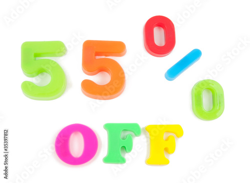 55% off written in fridge magnets