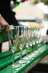 Few empty champagne glasses